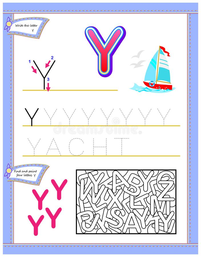 Worksheet for kids with letter Y for study English alphabet. Logic puzzle game. Developing children skills for writing and reading. Vector image. Developing royalty free illustration