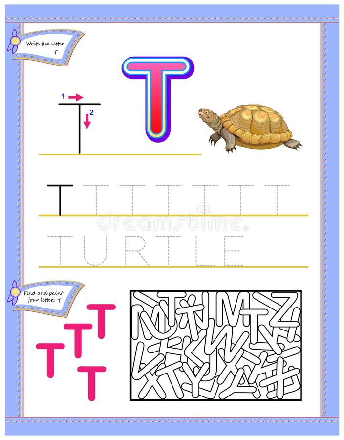 Worksheet for kids with letter T for study English alphabet. Logic puzzle game. Developing children skills for writing and reading. Vector image. Developing stock illustration
