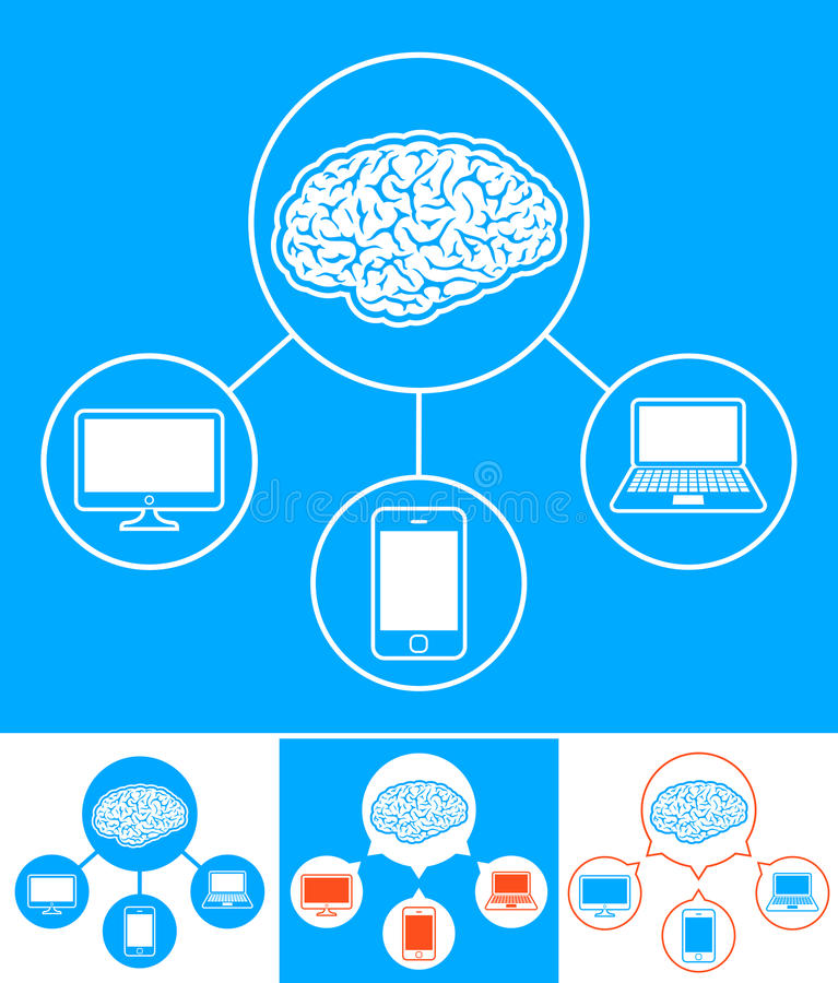 Vector image of devices connected to central brain stock illustration