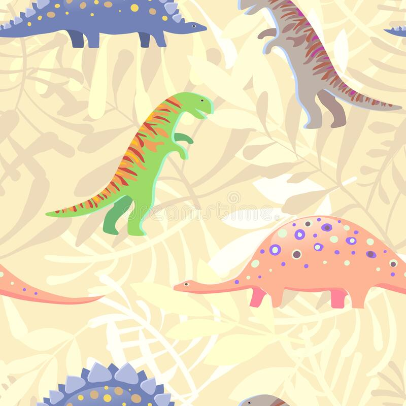 Vector image of a dinosaur among leaves and plants on a yellow background. Seamless pattern for textile and wrapping stock photography