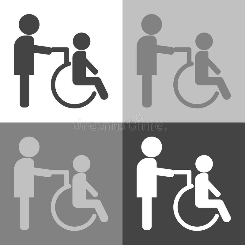 Vector Image Of Disabled Person Disabled With Nurse Wheelchai