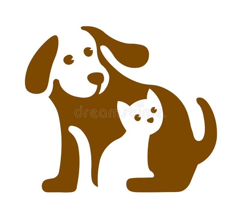 Vector image of dog and cat logo on white stock photo