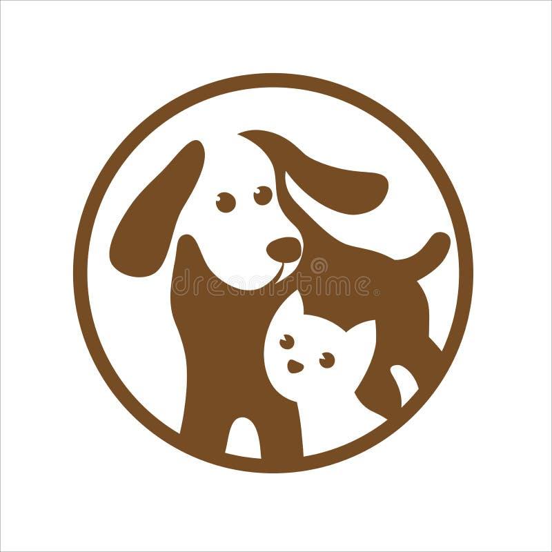 Dog and cat pets shop logo on white royalty free stock image