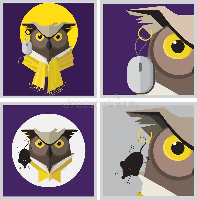 Vector image of an eagle owl earring royalty free illustration