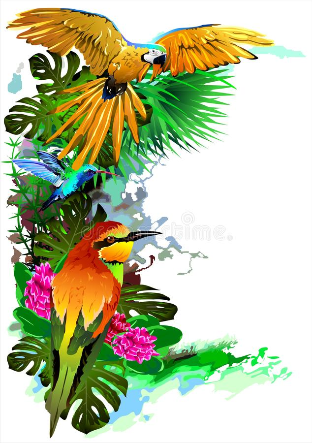 Tropical birds. Vector. Vector image of exotic birds. Additional format: made in CorelDRAW X13. Color settings: Tools/color management/Optimized for the Web stock illustration
