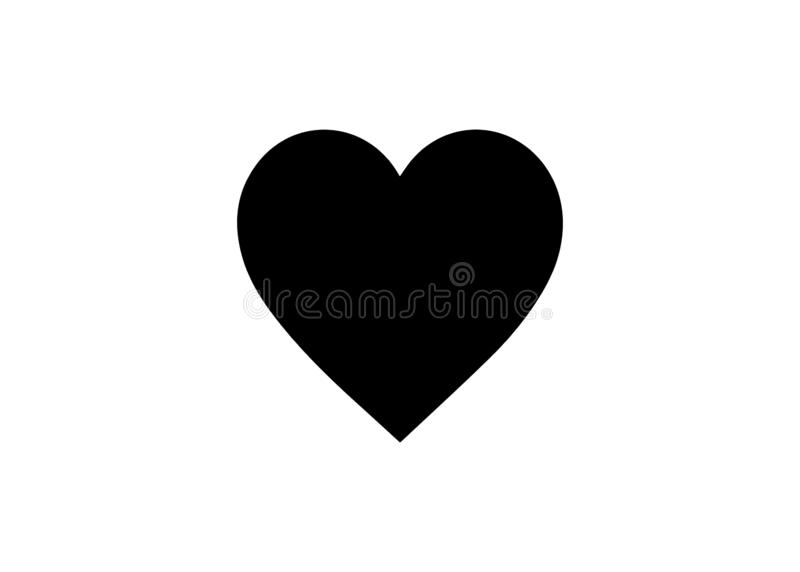 Vector image of a flat, linear black heart icon. Isolated heart on a white background stock illustration