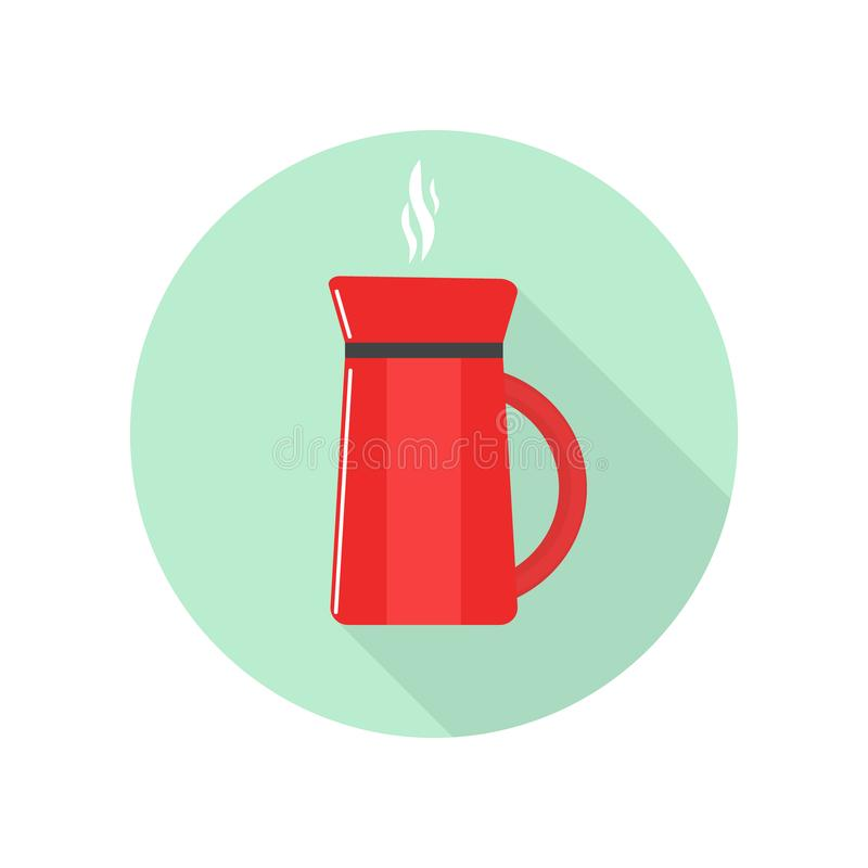 Vector image of flat red coffee maker icon with shadow. On green background stock illustration