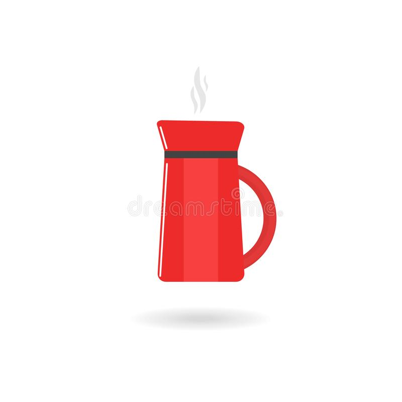 Vector image of flat red coffee maker icon with shadow. Isolated royalty free illustration