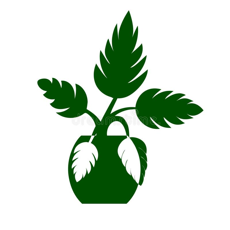Vector image of a flower in a pot. Green silhouette of a flower on a white background. Icon, symbol of flower, palm vector illustration