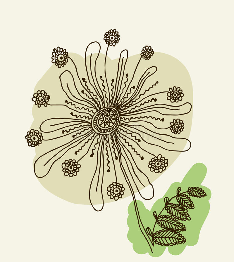 Download Vector Image Of A Flower In Vintage Style Stock Vector - Image: 34442506