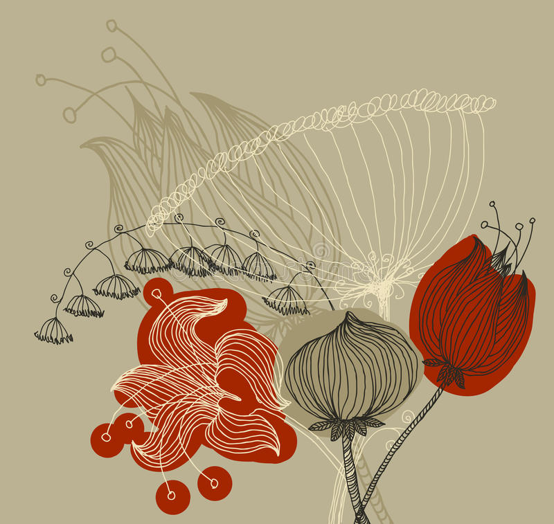 Download Vector Image Of A Flower In Vintage Style Stock Vector - Illustration: 34442559