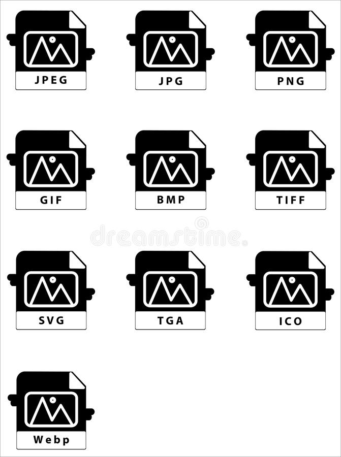 Vector Image Format Icon Set Design Solid Style. Ypu can use to you any webiste and software royalty free illustration