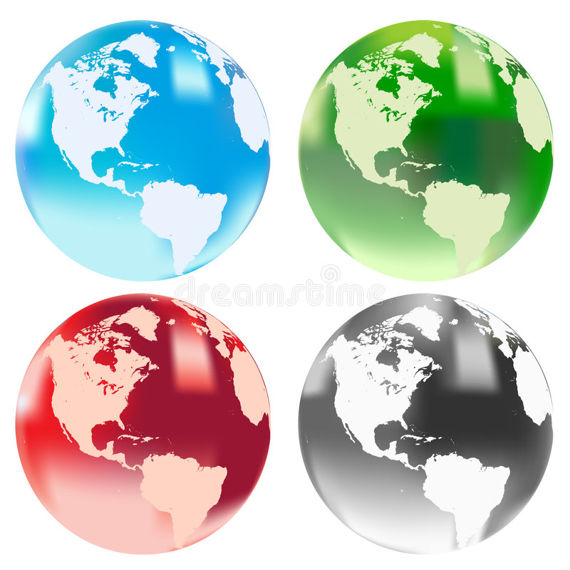 Vector image of four globes. Vector image of four transluscent shiny globes stock illustration