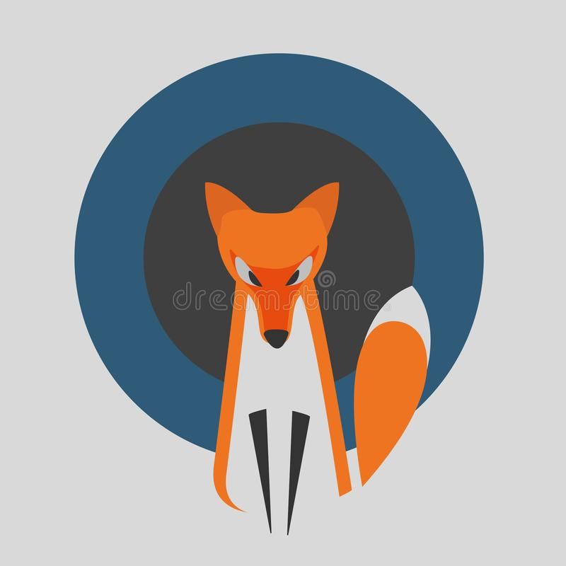 Vector Image of a Fox Design on a Grey Background with Blue and Dark Gray Rounds. royalty free illustration
