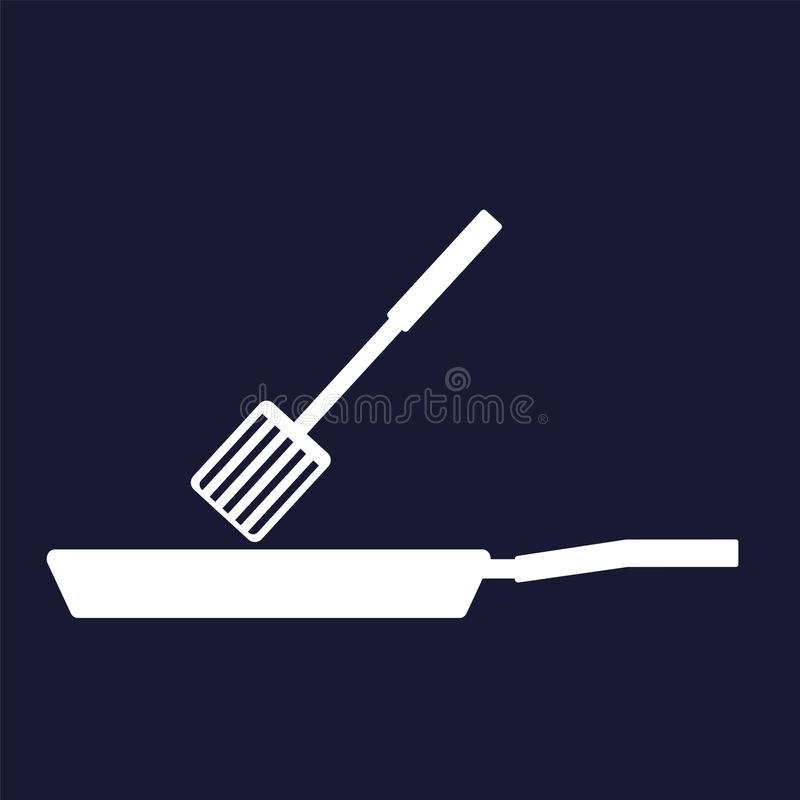 Vector image of frying pan and scapula.Vector white icon on dark. Vector image of frying pan and scapula.Kitchen Appliances.Vector white icon on dark blue stock illustration