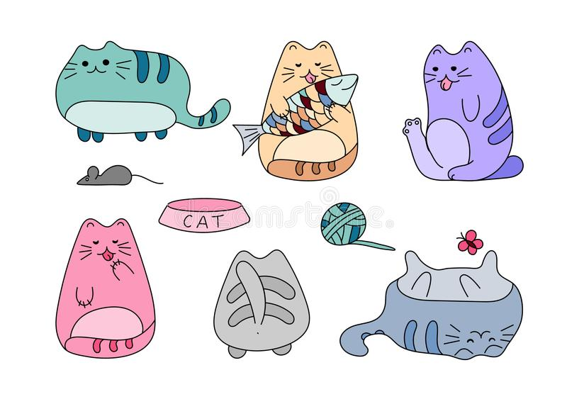 Vector image with funny hand drawn cats. Animals vector illustration with adorable white kitties. vector illustration