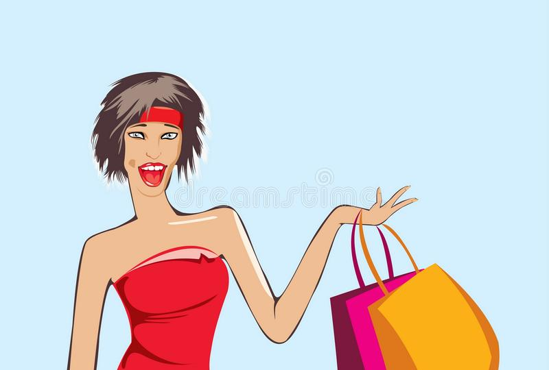 Glad after shopping. Vector image of glad girl after shopping isolated on blue stock illustration