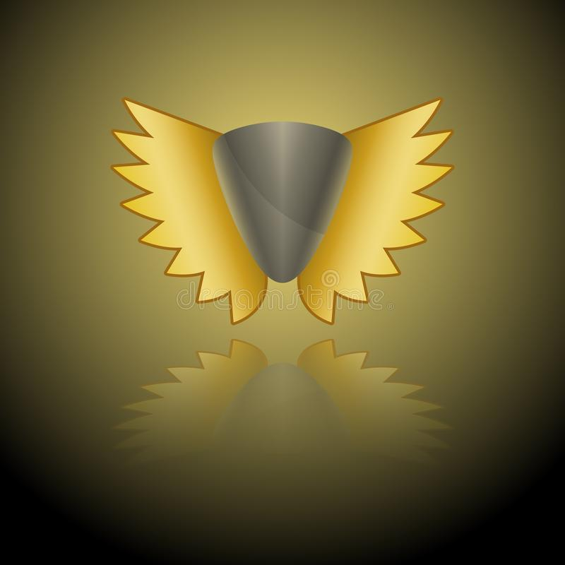 Vector image of a gray shield logo with golden wings on a black-and-gold background with a mirror image.  stock illustration