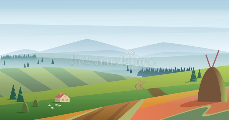 Vector image of green hills and meadow with farmhouse against blue mountains in haze. Morning fog field landscape. Vector image of green hills and meadow with vector illustration