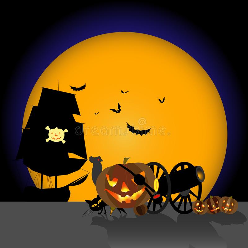 Vector Image. Halloween, Lame Pirate Pumpkin, With Friends, Gun, Parrot and Cat vector illustration