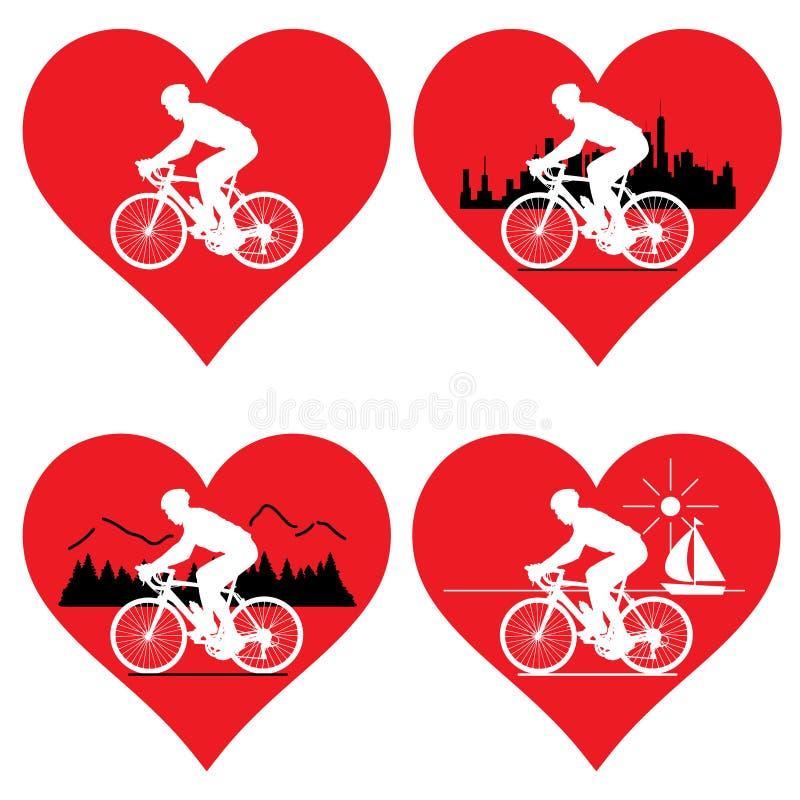 Heart and cyclist. I love my bike. I love the bike. stock illustration