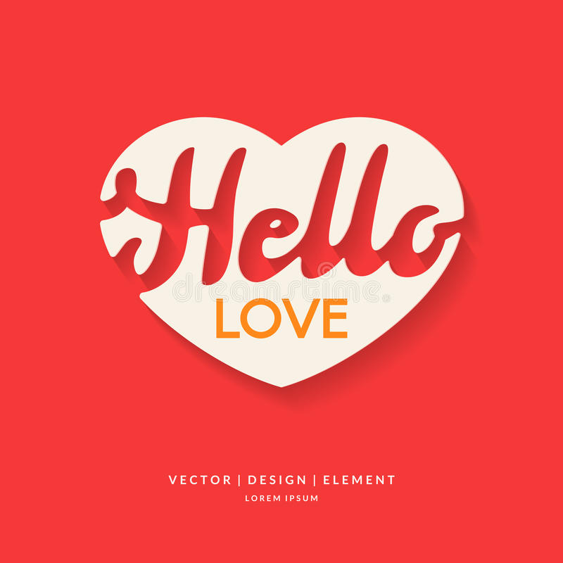 Download Vector Image Of Heart With Lettering Hello Love Stock Vector    Illustration Of Quote,