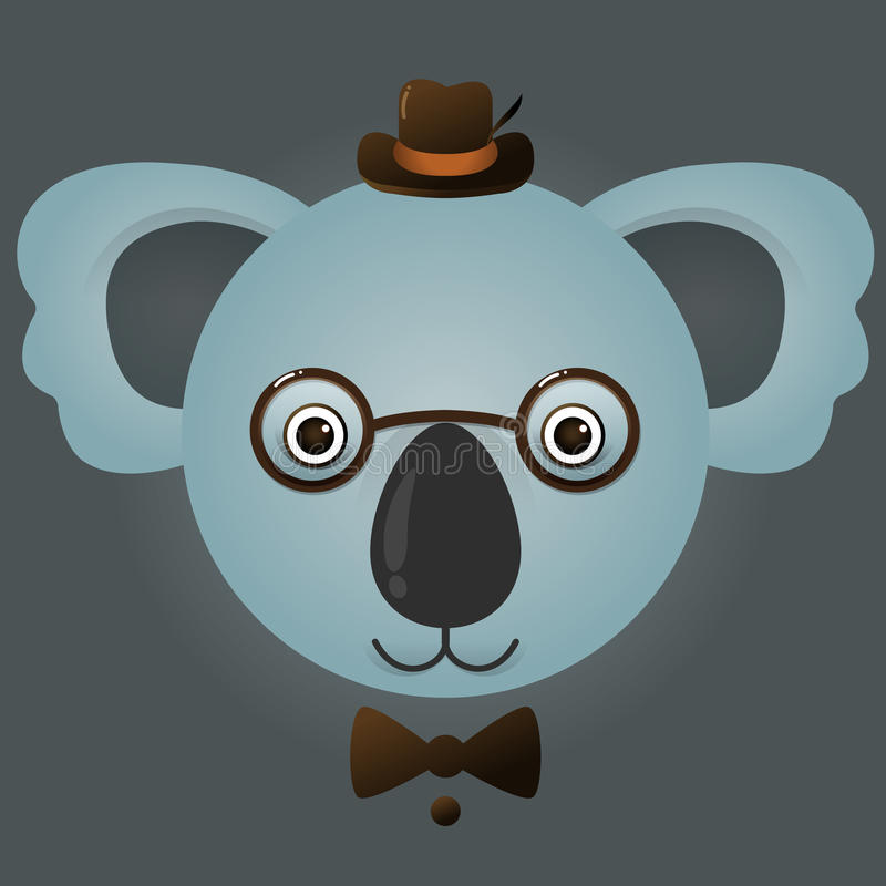 Vector image of a hipster koala bear vector illustration