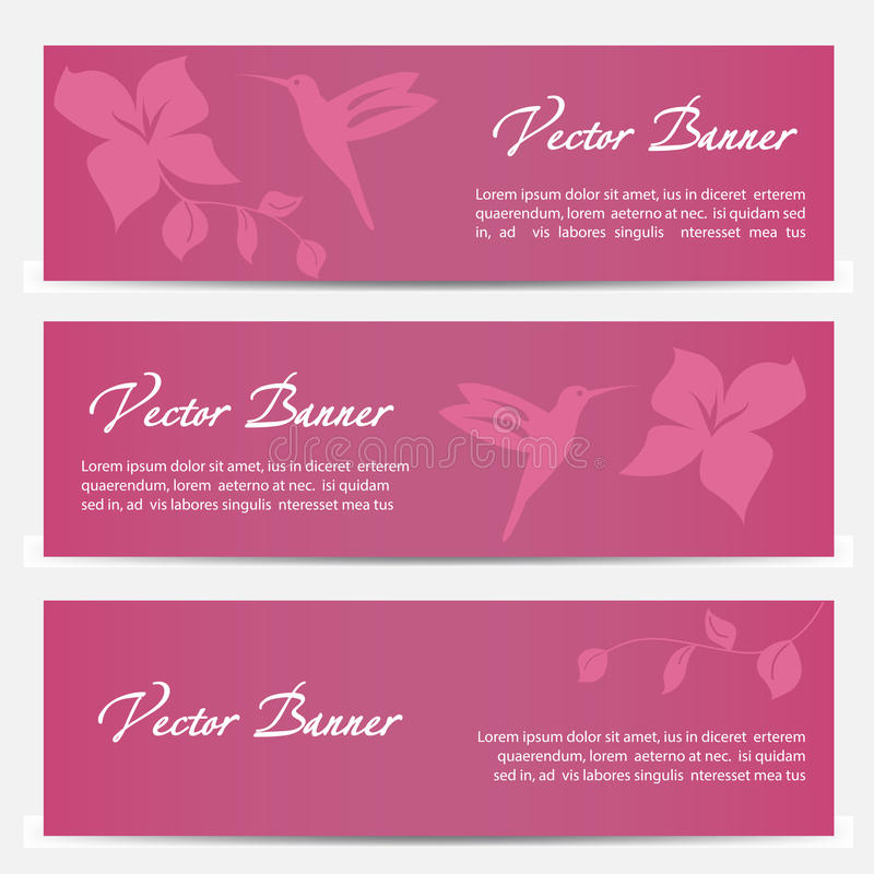 Vector image of an hummingbird banner design on vector illustration