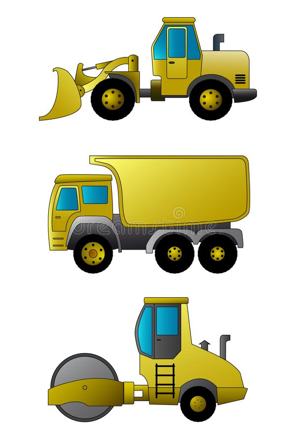 Front loader, tipper, road roller, construction machinery vector illustration