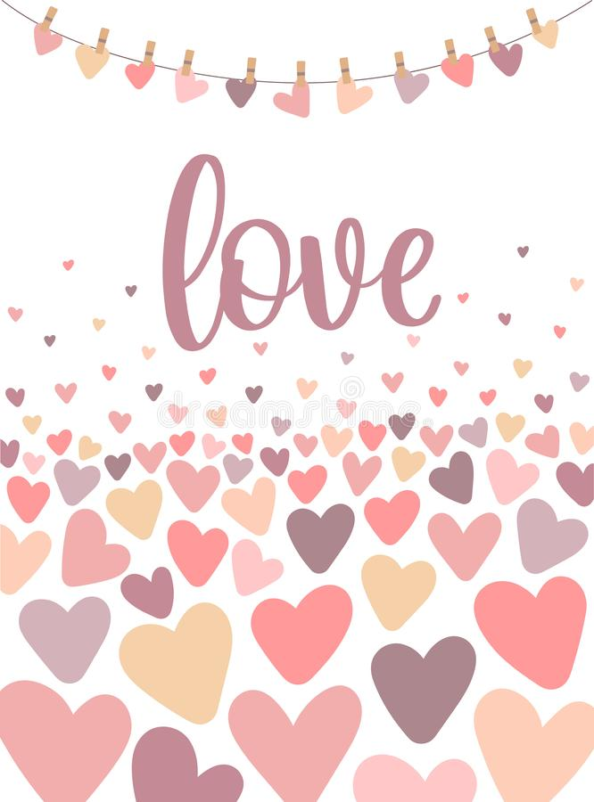 Vector image of the inscription Love on the background of hearts. Illustration for Valentine`s Day, lovers, prints, clothes, texti royalty free illustration