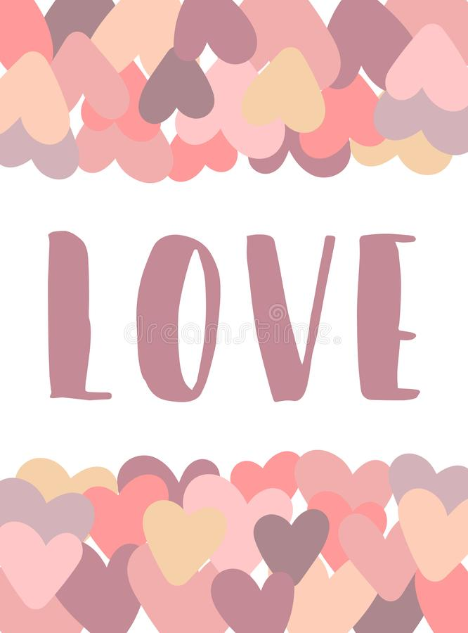Vector image of the inscription Love on a background of hearts in pink. Illustration for Valentine`s Day, lovers, prints, clothes, stock illustration