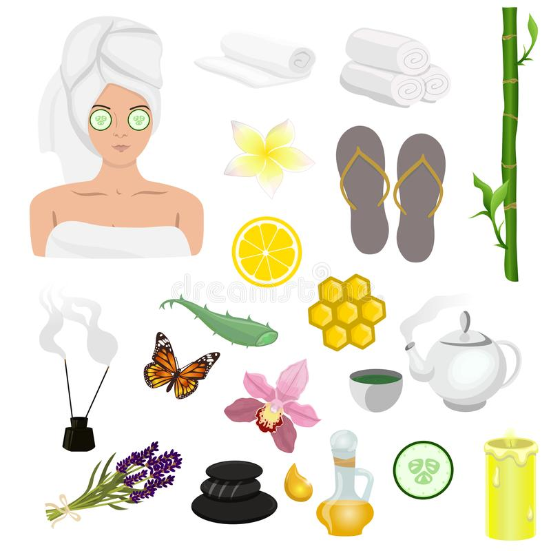 Spa icons set. Set of design elements for spa salon, web site and other. Vector image isolated on white background royalty free illustration
