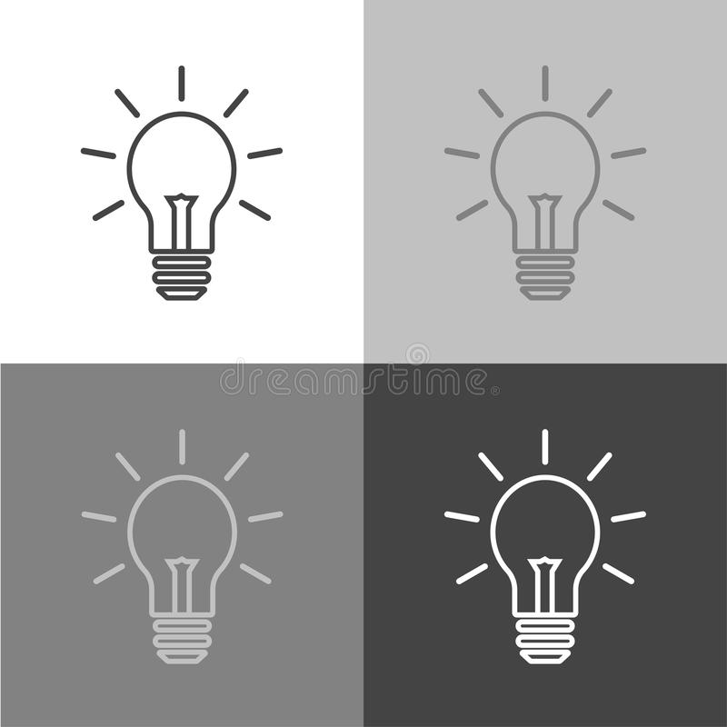 Vector image of a lamp. Light bulb icon. Vector icon on white-grey-black color vector illustration