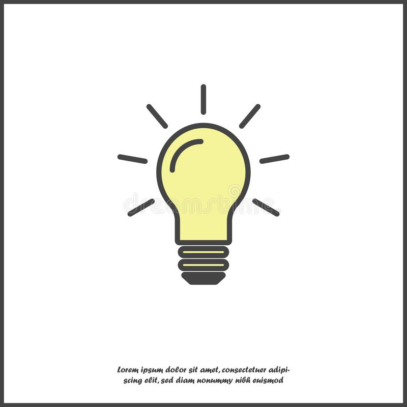 Vector image lamp. Light bulb icon on white isolated background. Layers grouped for easy editing illustration. For your design stock illustration
