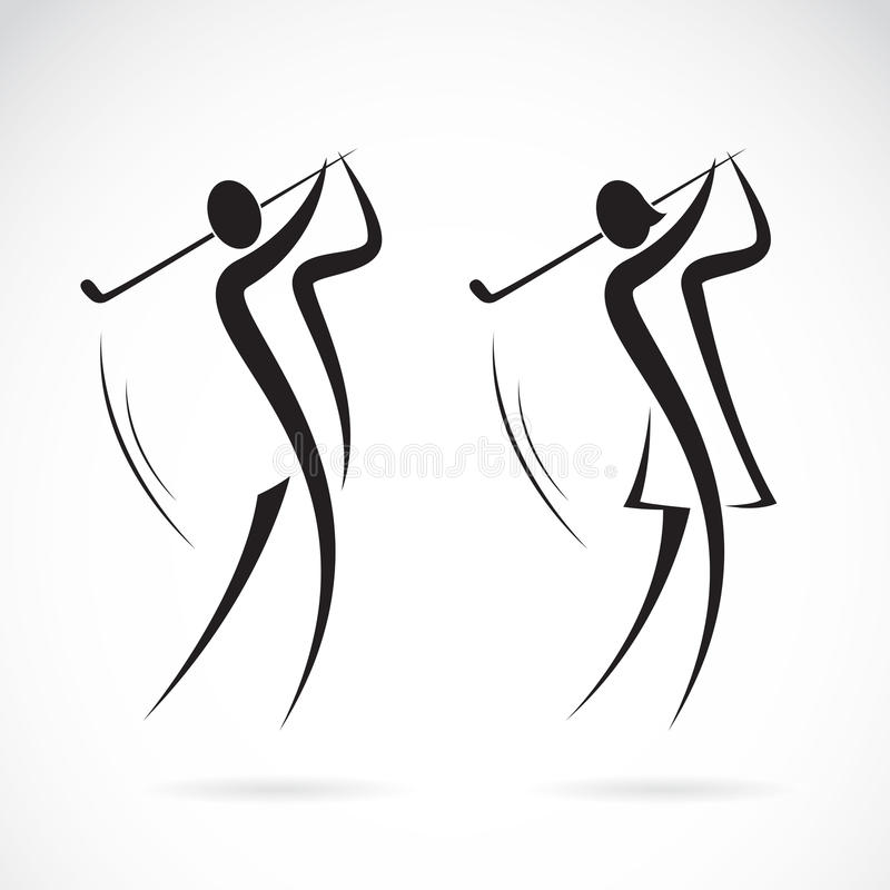Vector image of an male and female golfers design stock illustration