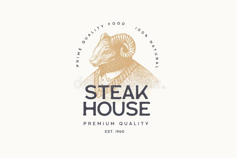 Vector image of a man-ram in a sweater in the technique of engraving and the inscription: `Steak House` on a light background. stock illustration