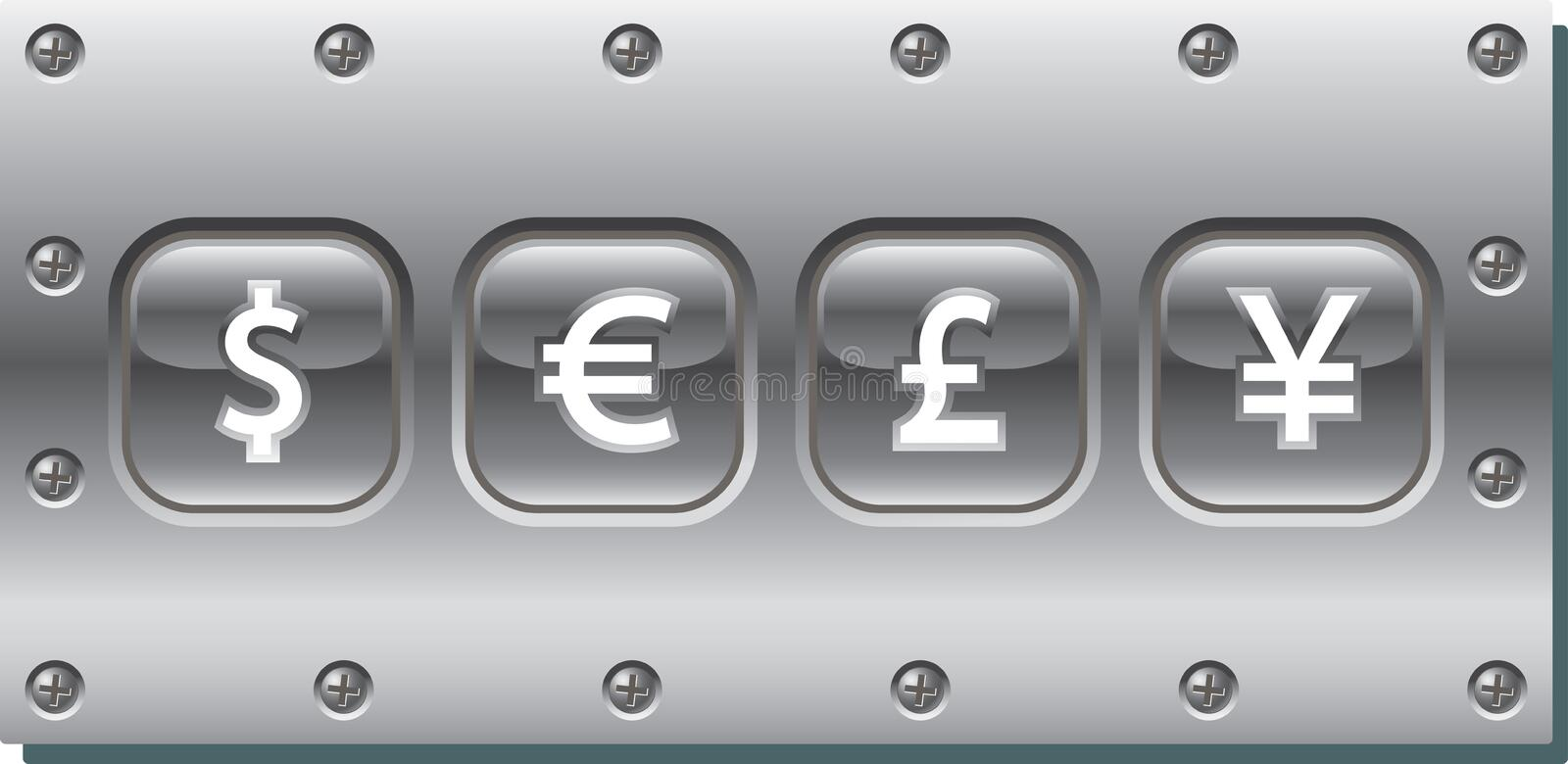 Vector image of metal signboard with various currengy symbols. Vector drawing of various currency symbols on metallic signboard stock illustration