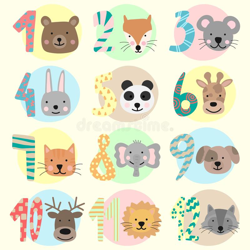 Vector image of 12 months for a baby with animals. A collection of children`s stickers with numbers and bear, fox, mouse, rabbit, vector illustration