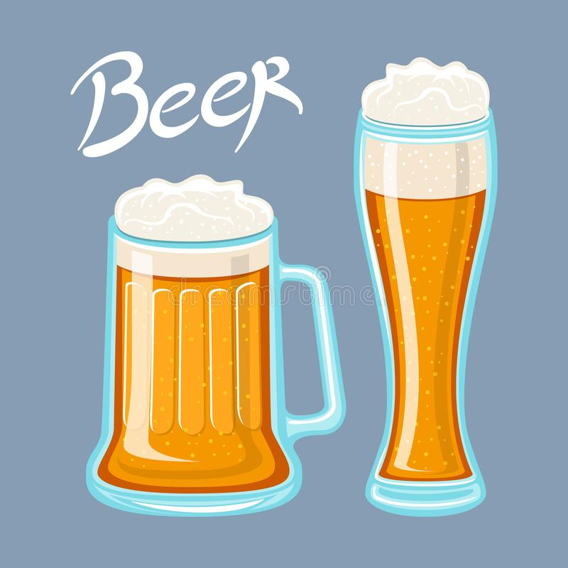 Vector image of mugs of beer glass. Drinks with a lot of foam. flat Vector illustration stock illustration