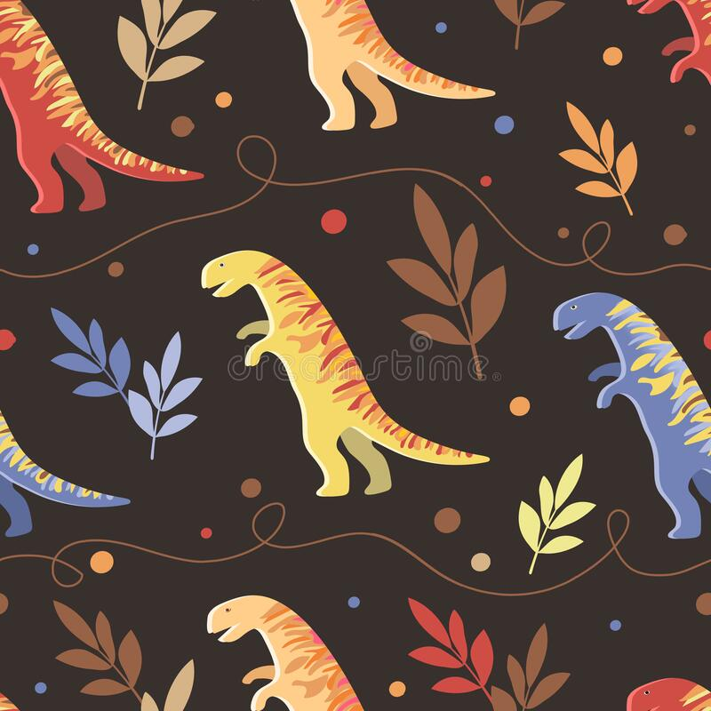 Vector image of multi-colored dinosaurs with leaves and curvy lines on a dark background. Seamless pattern for textile stock photo