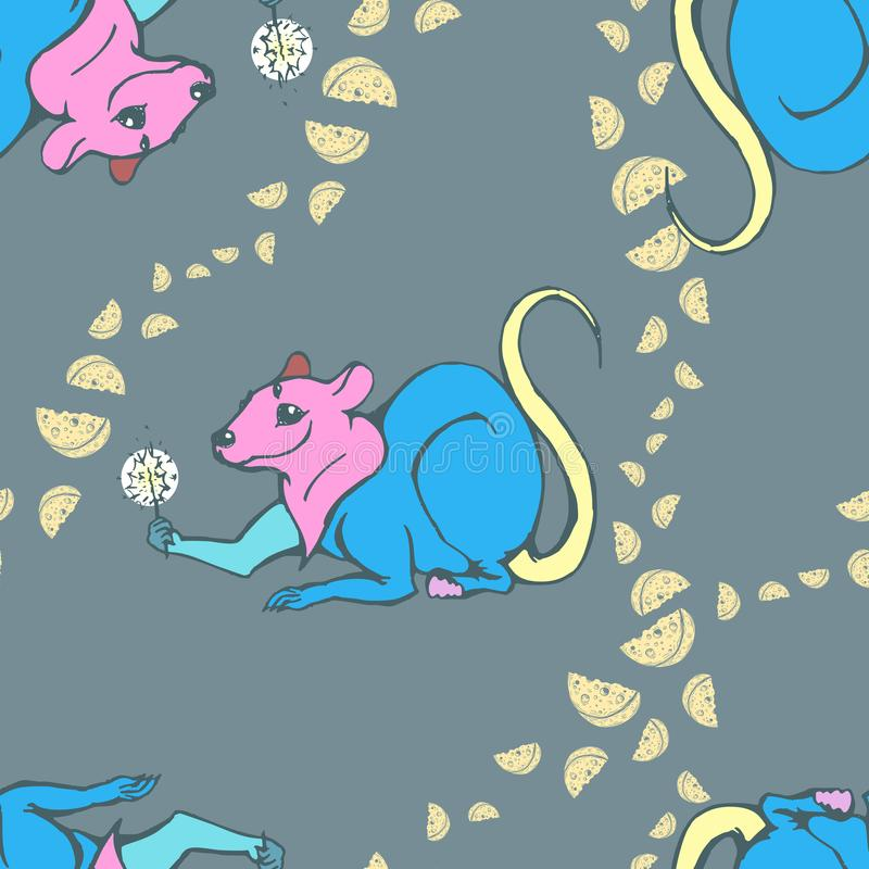 Vector image of a multi-colored mouse on a dark background with patterns of cheese pieces. Seamless pattern for vector illustration