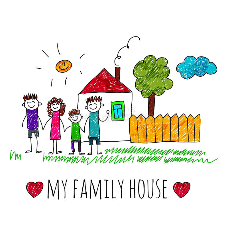 Vector image my family house stock vector illustration for My home pictures for kids