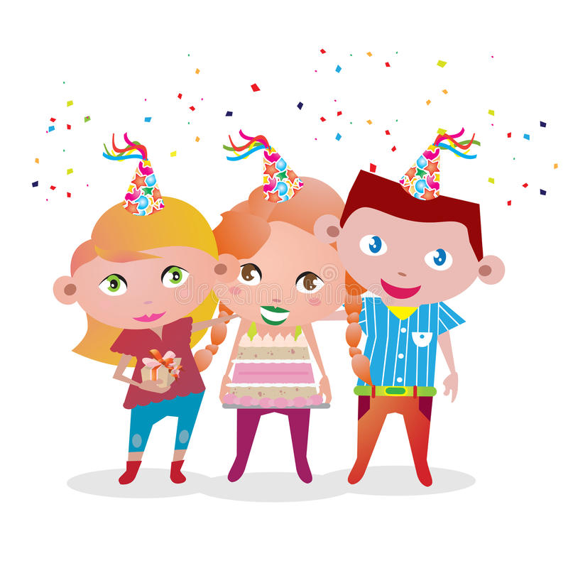 Free Vector Image Of 3 Kids Surprise Party Royalty Free Stock Images - 54241989