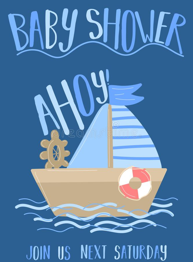 Free Vector Image Of A Boat And Sail With The Inscription Baby Shower And Ahoy On A Blue Background. Illustration On The Sea Theme For Royalty Free Stock Photos - 131238508