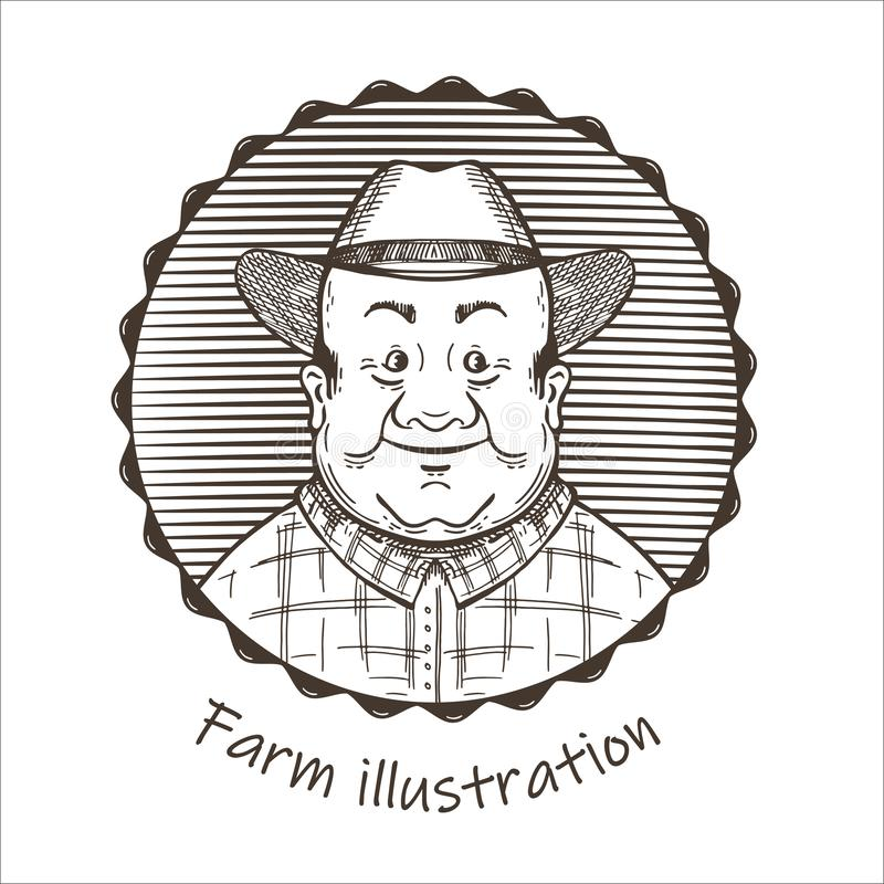 Agricultural illustration. Portrait of a man in a hat. royalty free illustration