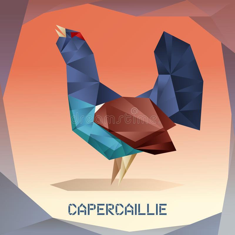 Origami mosaic Capercaillie. Vector image of the Origami mosaic Capercaillie stock illustration