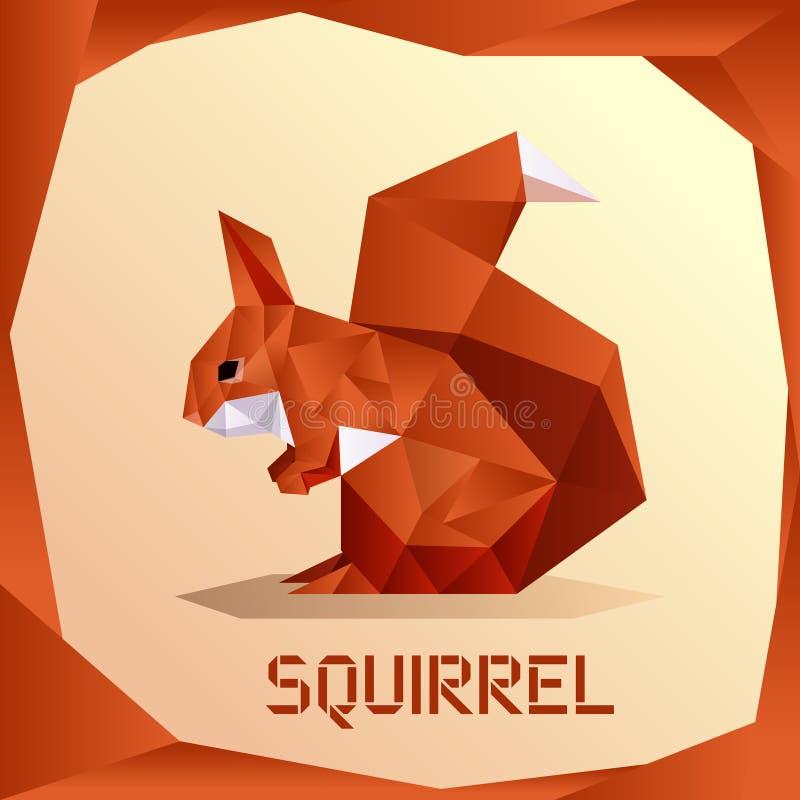 Origami Orange Squirrel. Vector image of the Origami Orange Squirrel stock illustration