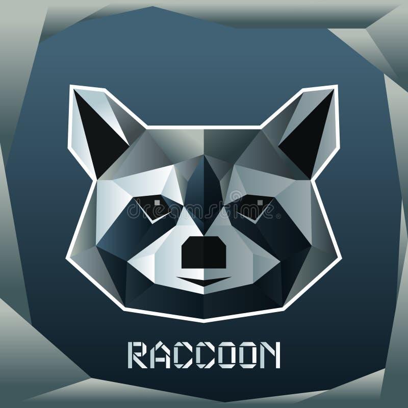 Origami raccoon head. Vector image of the Origami raccoon head royalty free illustration