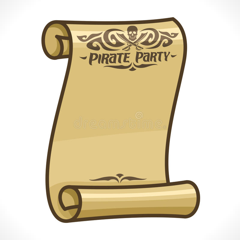 Vector image of parchment scroll for Pirate Party vector illustration