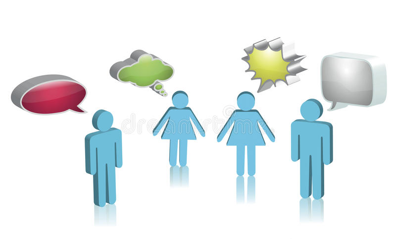 Vector image of people with thought bubble.